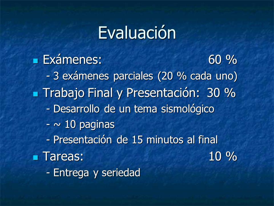 Evaluación Exámenes: 60 % Exámenes: 60 % - 3 exámenes parciales (20 % cada uno) Trabajo Final y Presentación: 30 % Trabajo Final y Presentación: 30 % - Desarrollo de un tema sismológico - ~ 10 paginas - Presentación de 15 minutos al final Tareas: 10 % Tareas: 10 % - Entrega y seriedad