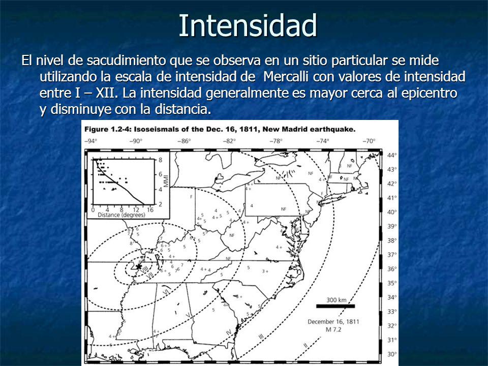 Intensidad El nivel de sacudimiento que se observa en un sitio particular se mide utilizando la escala de intensidad de Mercalli con valores de intensidad entre I – XII.