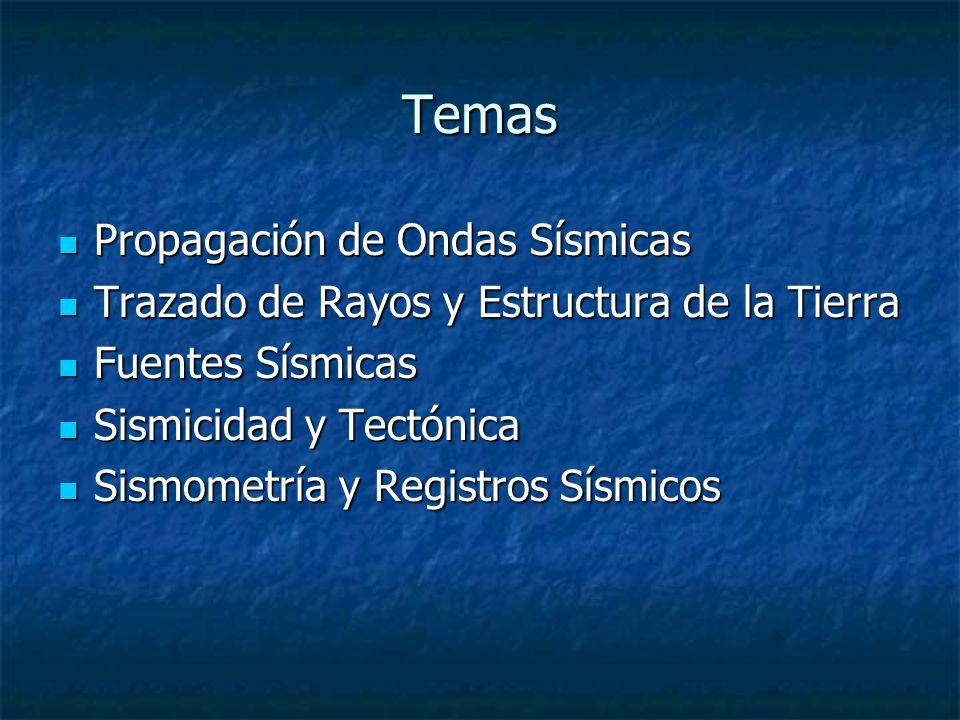 Temas Propagación de Ondas Sísmicas Propagación de Ondas Sísmicas Trazado de Rayos y Estructura de la Tierra Trazado de Rayos y Estructura de la Tierra Fuentes Sísmicas Fuentes Sísmicas Sismicidad y Tectónica Sismicidad y Tectónica Sismometría y Registros Sísmicos Sismometría y Registros Sísmicos
