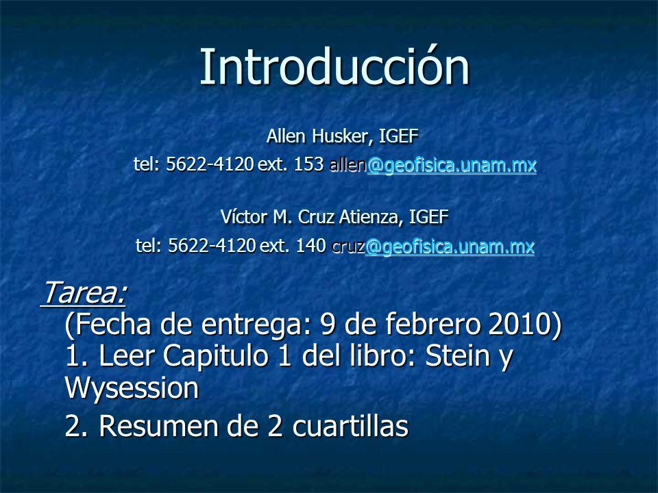 Introducción Allen Husker, IGEF tel: 5622-4120 ext. 153 allen@geofisica.unam.mx Víctor M. Cruz Atienza, IGEF tel: 5622-4120 ext. 140 cruz@geofisica.un