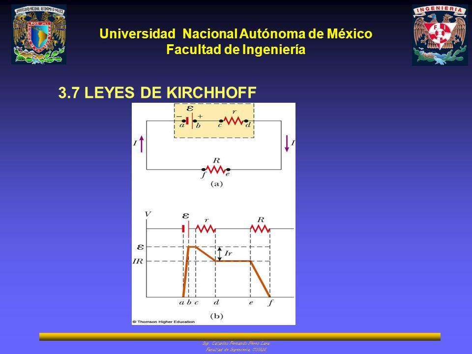 Universidad Nacional Autónoma de México Facultad de Ingeniería Ing. Catarino Fernando Pérez Lara Facultad de Ingeniería, UNAM 3.7 LEYES DE KIRCHHOFF