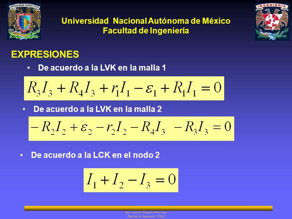 Universidad Nacional Autónoma de México Facultad de Ingeniería Ing. Catarino Fernando Pérez Lara Facultad de Ingeniería, UNAM EXPRESIONES De acuerdo a
