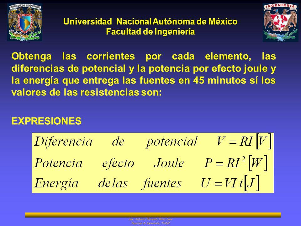 Universidad Nacional Autónoma de México Facultad de Ingeniería Ing. Catarino Fernando Pérez Lara Facultad de Ingeniería, UNAM Obtenga las corrientes p