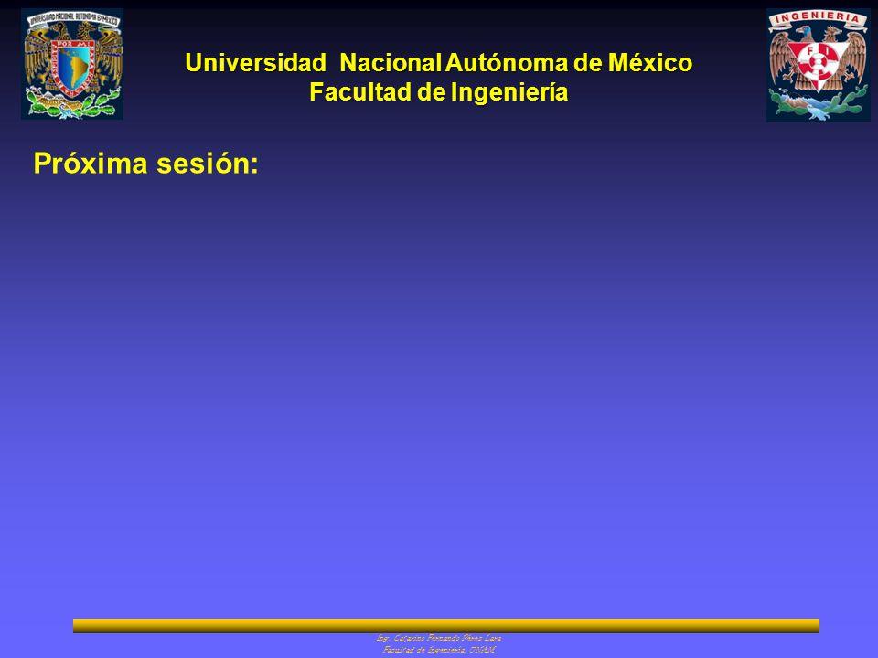 Universidad Nacional Autónoma de México Facultad de Ingeniería Ing. Catarino Fernando Pérez Lara Facultad de Ingeniería, UNAM Próxima sesión: