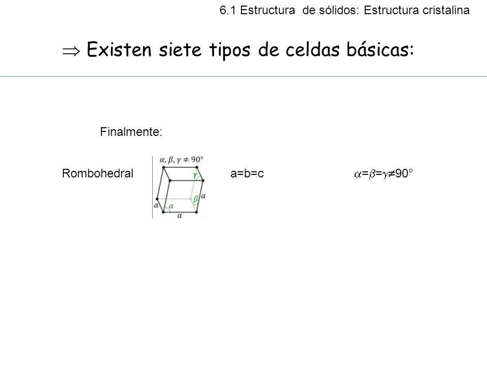 Existen siete tipos de celdas básicas: Rombohedral a=b=c = = 90° Finalmente: 6.1 Estructura de sólidos: Estructura cristalina