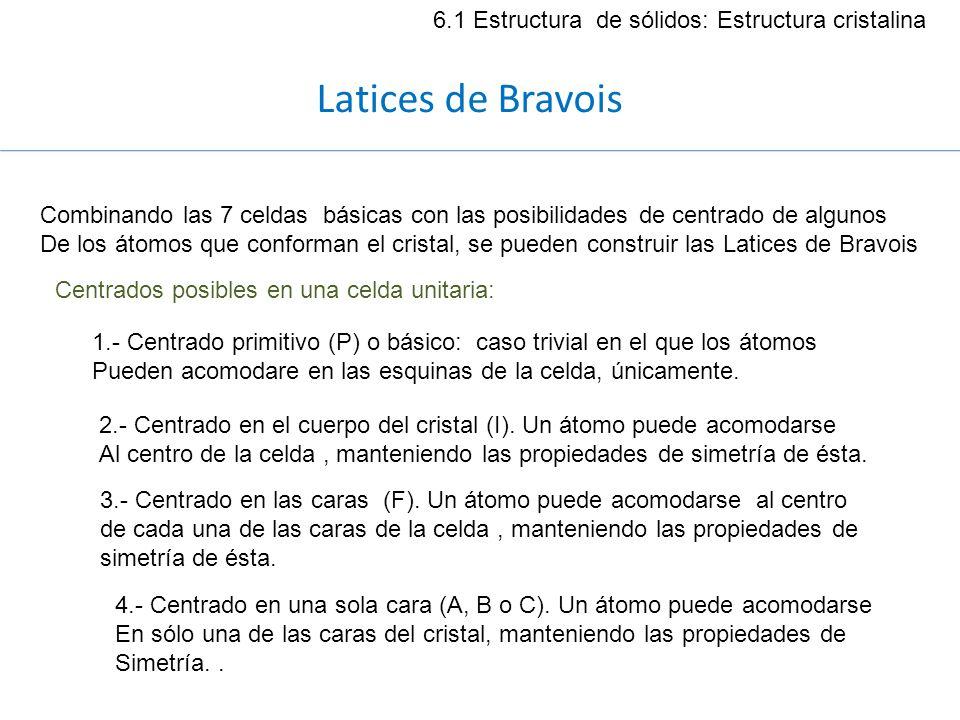 Latices de Bravois 6.1 Estructura de sólidos: Estructura cristalina Combinando las 7 celdas básicas con las posibilidades de centrado de algunos De lo