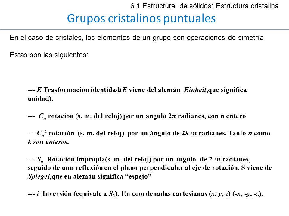6.1 Estructura de sólidos: Estructura cristalina Grupos cristalinos puntuales En el caso de cristales, los elementos de un grupo son operaciones de si