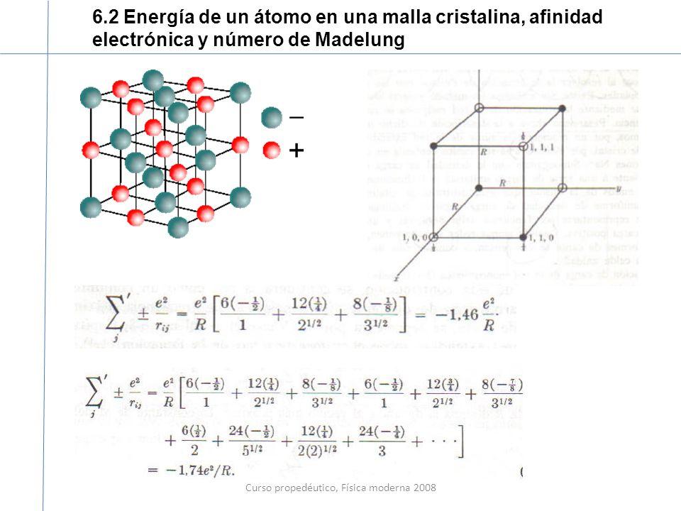 Curso propedéutico, Física moderna 2008 6.2 Energía de un átomo en una malla cristalina, afinidad electrónica y número de Madelung Notas.