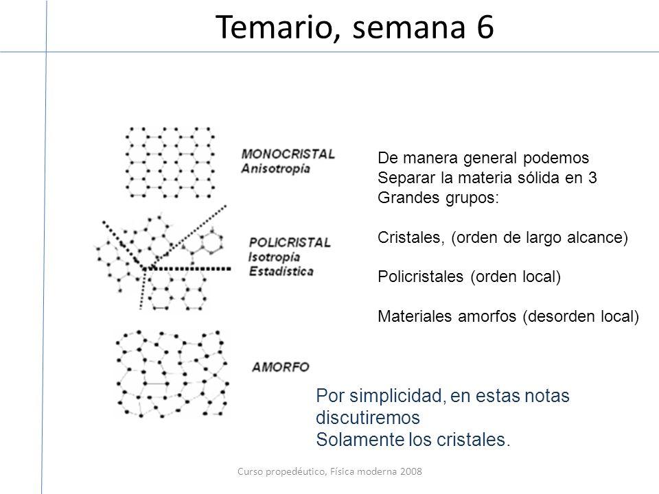 Temario, semana 6 Curso propedéutico, Física moderna 2008 De manera general podemos Separar la materia sólida en 3 Grandes grupos: Cristales, (orden d