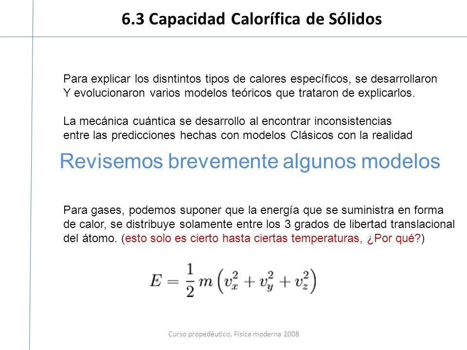 6.3 Capacidad Calorífica de Sólidos Curso propedéutico, Física moderna 2008 Para explicar los disntintos tipos de calores específicos, se desarrollaro