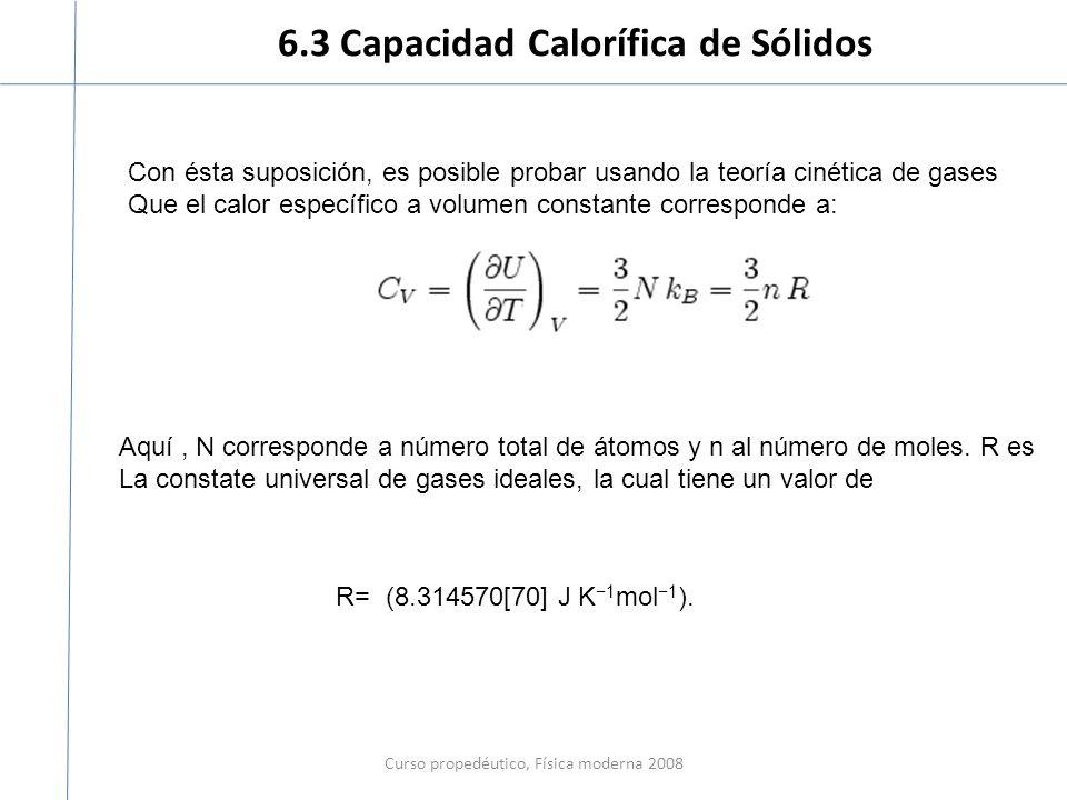 6.3 Capacidad Calorífica de Sólidos Curso propedéutico, Física moderna 2008 Con ésta suposición, es posible probar usando la teoría cinética de gases