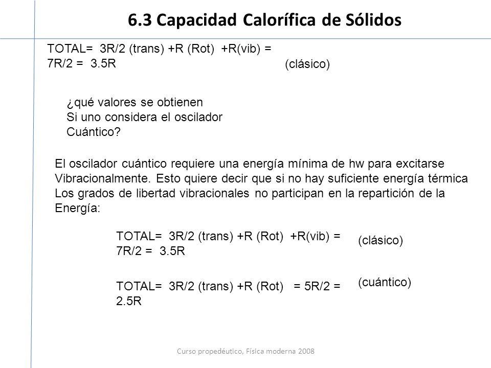6.3 Capacidad Calorífica de Sólidos Curso propedéutico, Física moderna 2008 TOTAL= 3R/2 (trans) +R (Rot) +R(vib) = 7R/2 = 3.5R ¿qué valores se obtiene