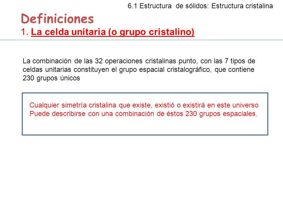 Definiciones 1. La celda unitaria (o grupo cristalino) La combinación de las 32 operaciones cristalinas punto, con las 7 tipos de celdas unitarias con