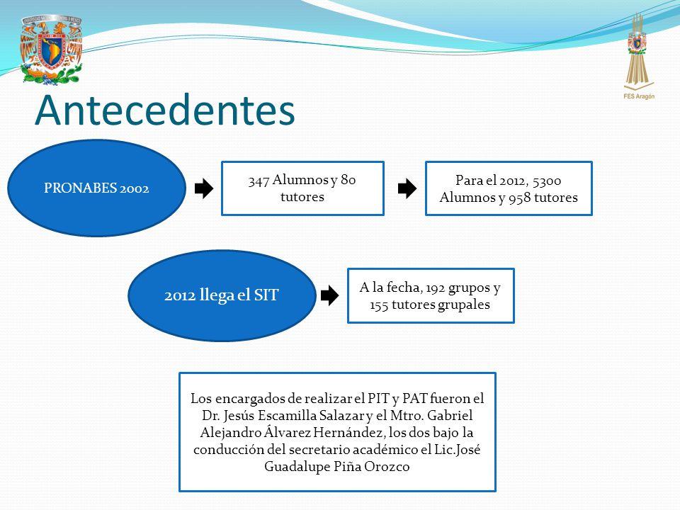 Antecedentes PRONABES 2002 347 Alumnos y 80 tutores Para el 2012, 5300 Alumnos y 958 tutores 2012 llega el SIT A la fecha, 192 grupos y 155 tutores gr