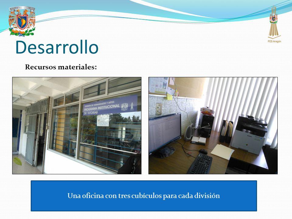 Desarrollo Recursos materiales: Una oficina con tres cubículos para cada división