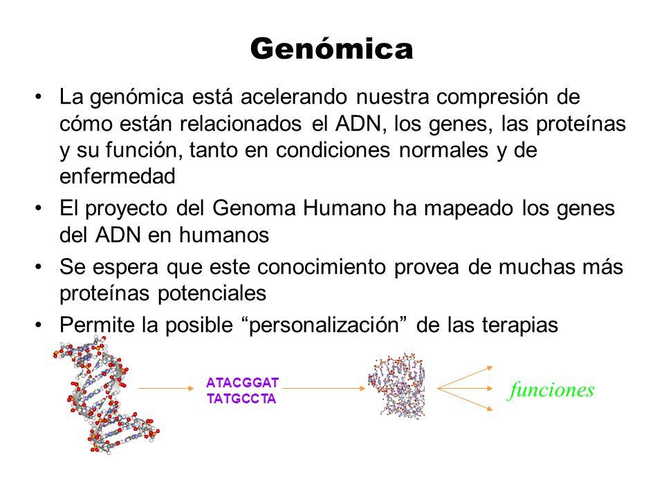 Genómica La genómica está acelerando nuestra compresión de cómo están relacionados el ADN, los genes, las proteínas y su función, tanto en condiciones