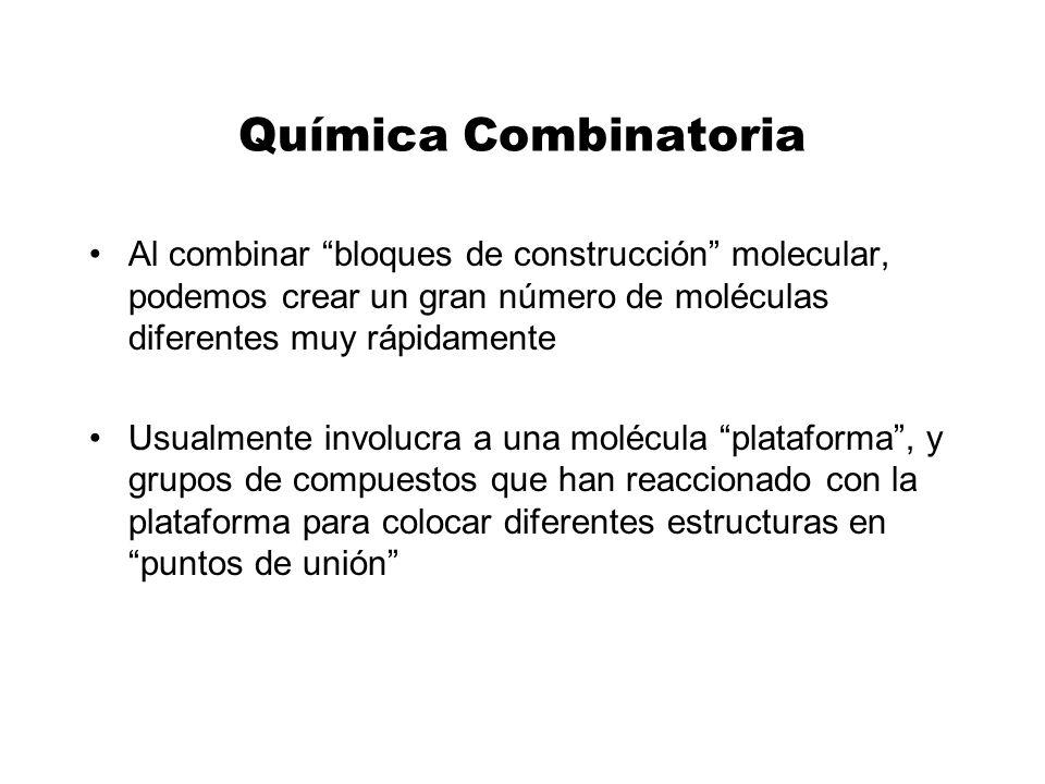 Química Combinatoria Al combinar bloques de construcción molecular, podemos crear un gran número de moléculas diferentes muy rápidamente Usualmente in