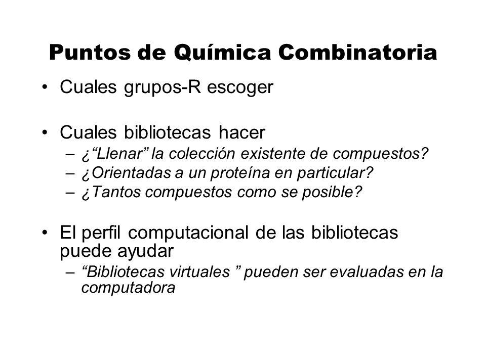 Puntos de Química Combinatoria Cuales grupos-R escoger Cuales bibliotecas hacer –¿Llenar la colección existente de compuestos? –¿Orientadas a un prote