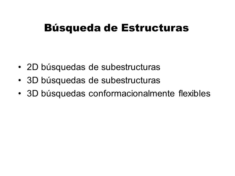 Búsqueda de Estructuras 2D búsquedas de subestructuras 3D búsquedas de subestructuras 3D búsquedas conformacionalmente flexibles