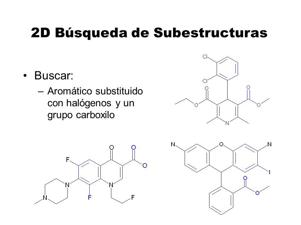 2D Búsqueda de Subestructuras Buscar: –Aromático substituido con halógenos y un grupo carboxilo