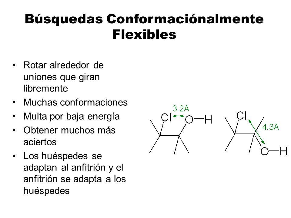 Búsquedas Conformaciónalmente Flexibles Rotar alrededor de uniones que giran libremente Muchas conformaciones Multa por baja energía Obtener muchos má
