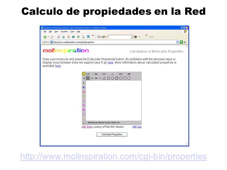 Calculo de propiedades en la Red http://www.molinspiration.com/cgi-bin/properties