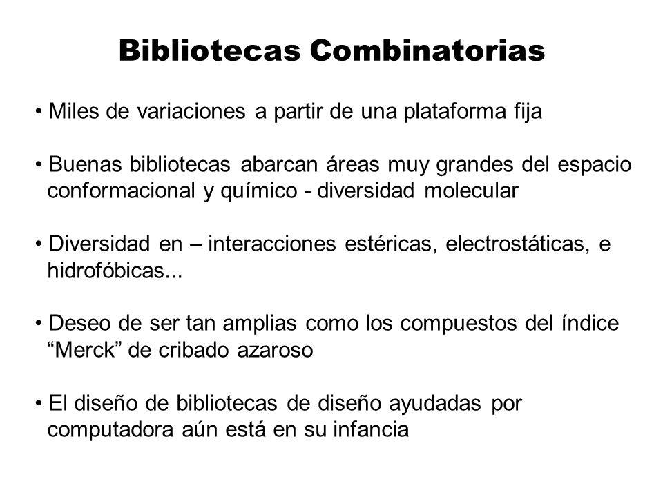 Bibliotecas Combinatorias Miles de variaciones a partir de una plataforma fija Buenas bibliotecas abarcan áreas muy grandes del espacio conformacional