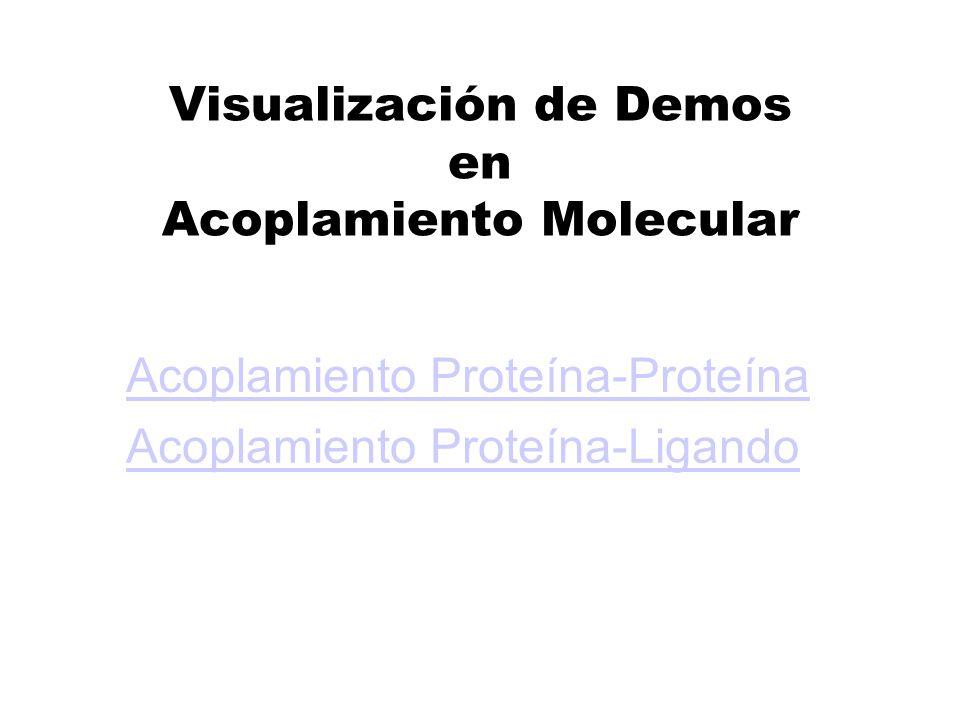 Visualización de Demos en Acoplamiento Molecular Acoplamiento Proteína-Proteína Acoplamiento Proteína-Ligando