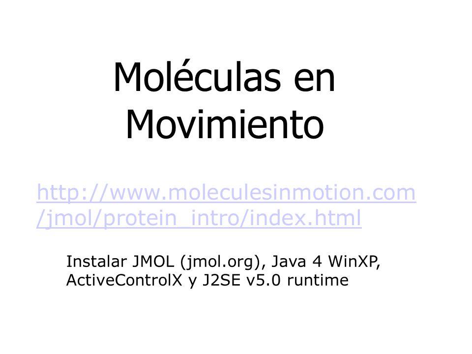 Moléculas en Movimiento http://www.moleculesinmotion.com /jmol/protein_intro/index.html Instalar JMOL (jmol.org), Java 4 WinXP, ActiveControlX y J2SE