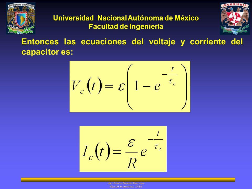 Universidad Nacional Autónoma de México Facultad de Ingeniería Ing. Catarino Fernando Pérez Lara Facultad de Ingeniería, UNAM Entonces las ecuaciones