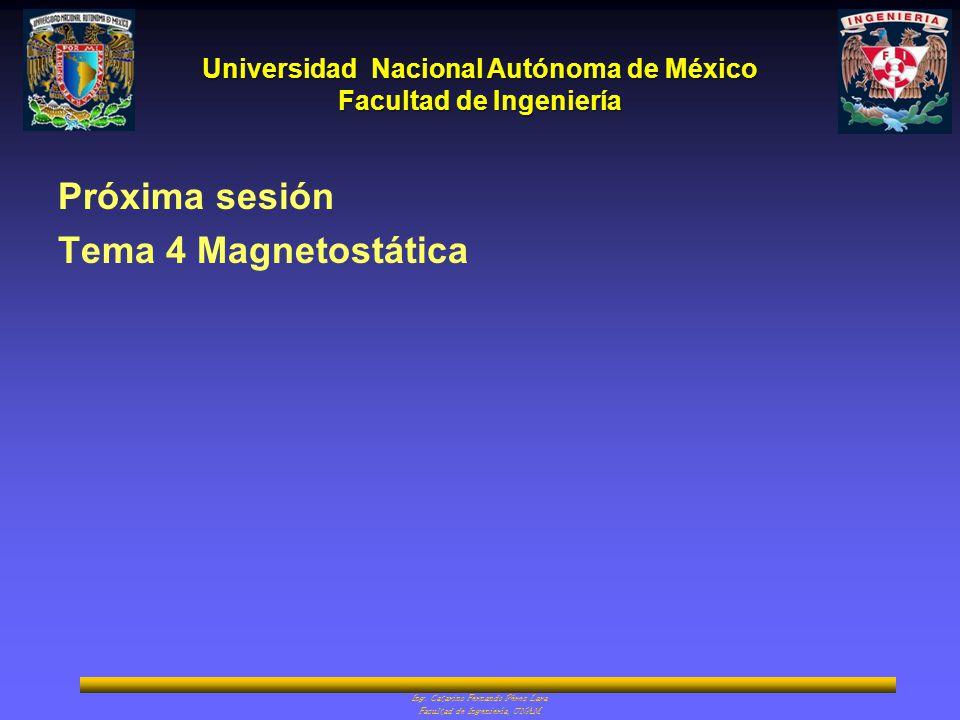 Universidad Nacional Autónoma de México Facultad de Ingeniería Ing. Catarino Fernando Pérez Lara Facultad de Ingeniería, UNAM Próxima sesión Tema 4 Ma