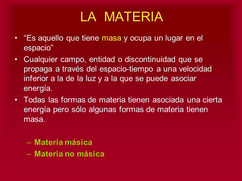 LA MATERIA Es aquello que tiene masa y ocupa un lugar en el espacio Cualquier campo, entidad o discontinuidad que se propaga a través del espacio-tiem