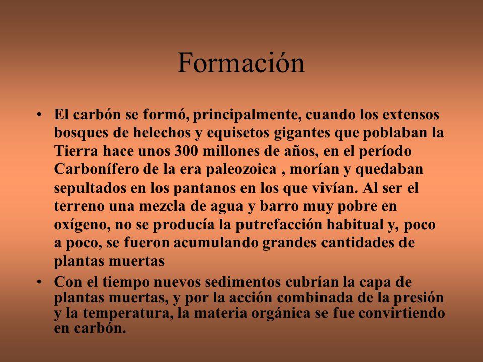 Según la cantidad de carbono que tiene cada carbón, existen varios tipos con caractéristicas distintas: Turba: menos del 60 % de carbono.