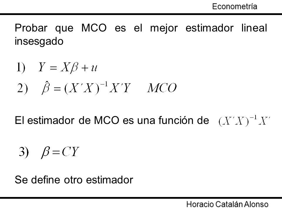 Horacio Catalán Alonso Econometría Probar que MCO es el mejor estimador lineal insesgado El estimador de MCO es una función de Se define otro estimado