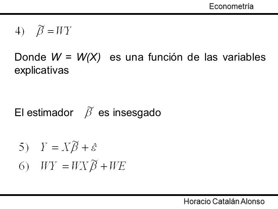 Horacio Catalán Alonso Econometría Donde W = W(X) es una función de las variables explicativas El estimador es insesgado