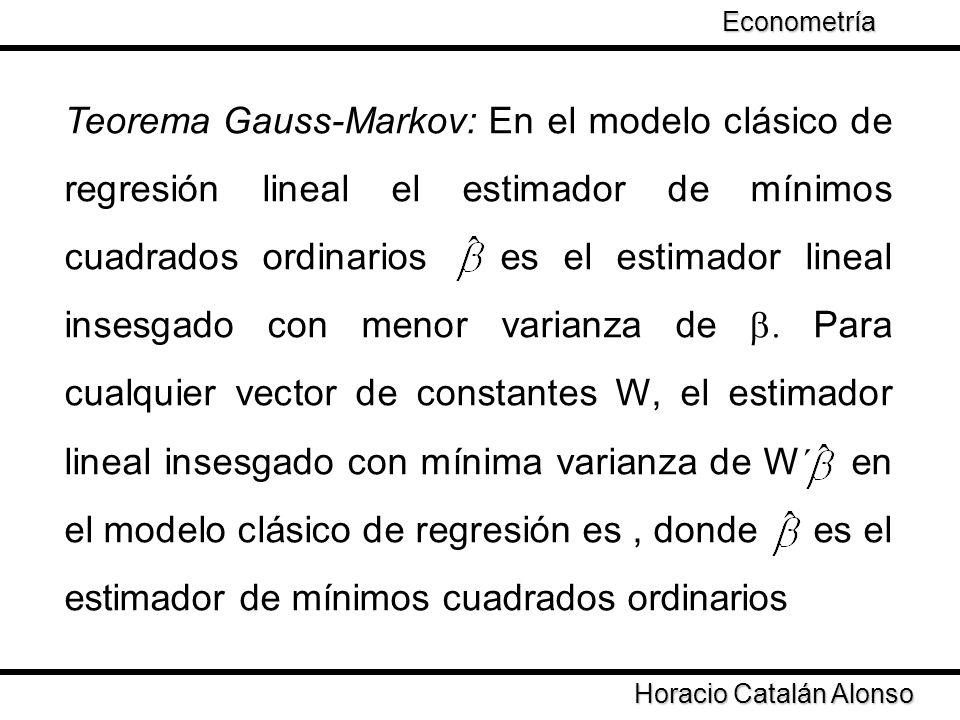 Horacio Catalán Alonso Econometría Teorema Gauss-Markov: En el modelo clásico de regresión lineal el estimador de mínimos cuadrados ordinarios es el e