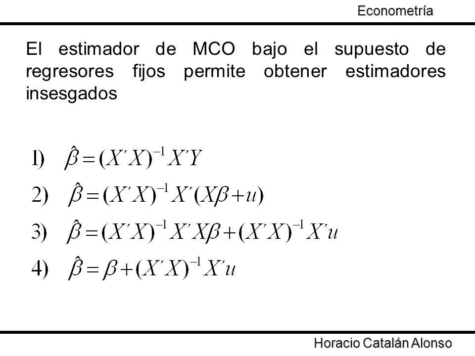Horacio Catalán Alonso Econometría El estimador de MCO bajo el supuesto de regresores fijos permite obtener estimadores insesgados