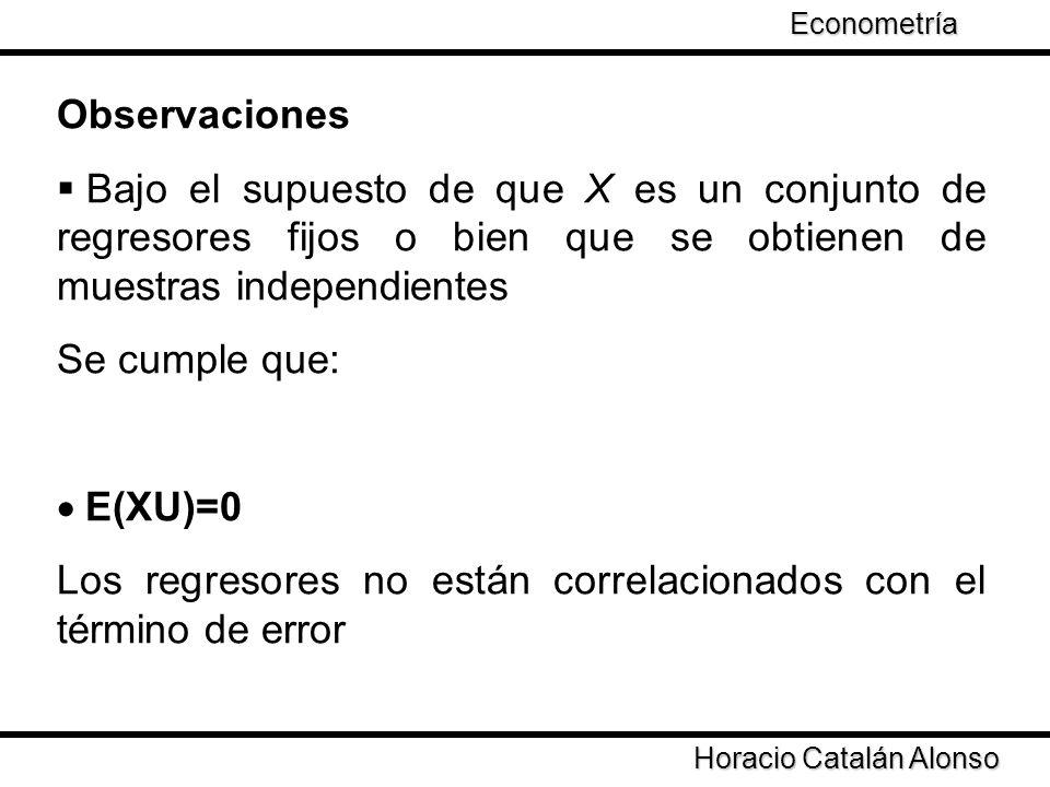 Horacio Catalán Alonso Econometría Observaciones Bajo el supuesto de que X es un conjunto de regresores fijos o bien que se obtienen de muestras indep