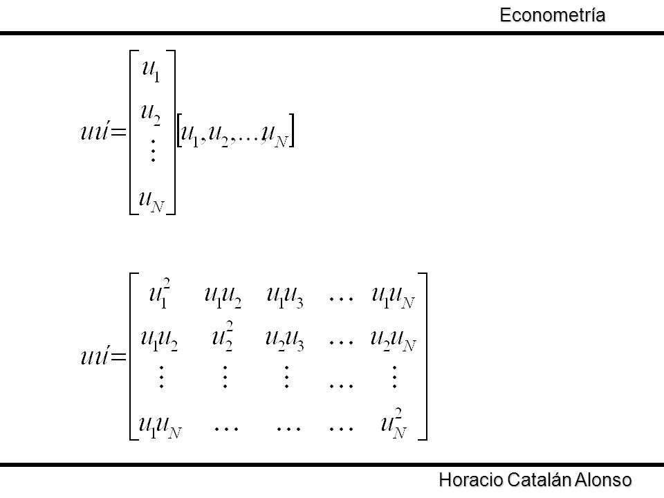 Horacio Catalán Alonso Econometría Se define la matriz La matriz D define la diferencia entre el estimador de MCO y el estimador dos