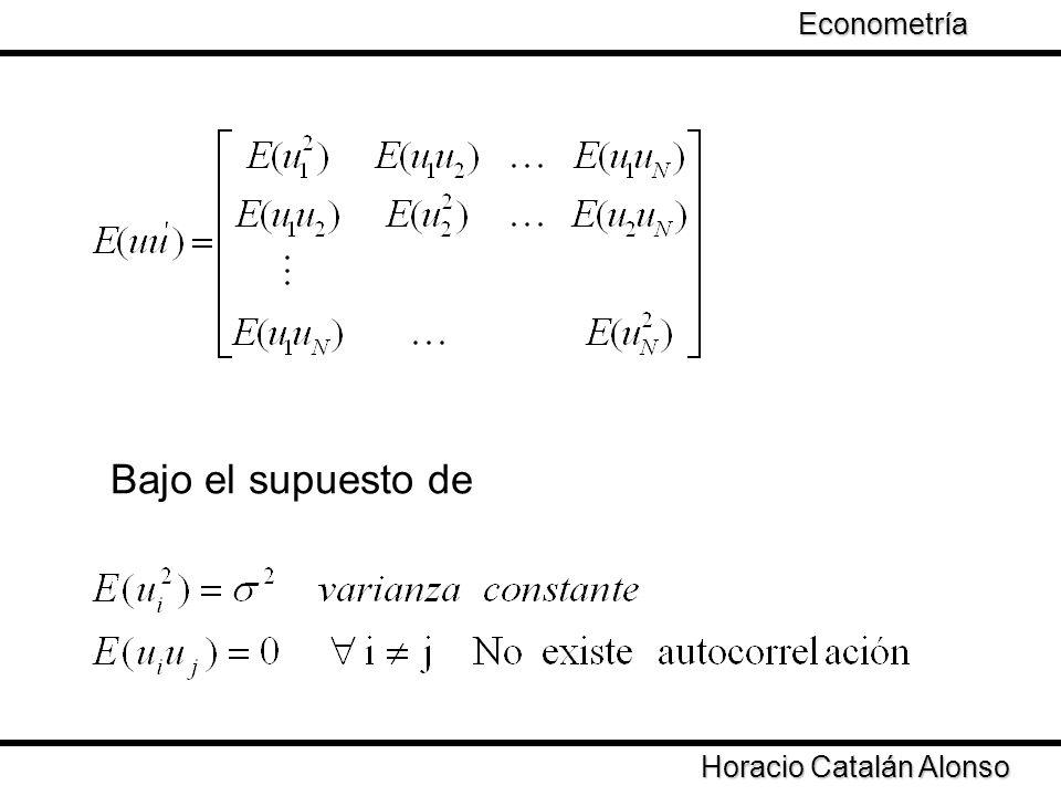 Horacio Catalán Alonso Econometría Se obtiene que