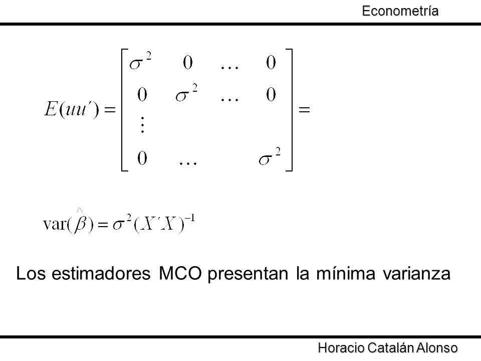 Horacio Catalán Alonso Econometría dado que DD´ es una forma cuadrática es un matriz no negativa Por lo tanto la varianza del estimador 2 es igual a la varianza del estimador de MCO más un término constante