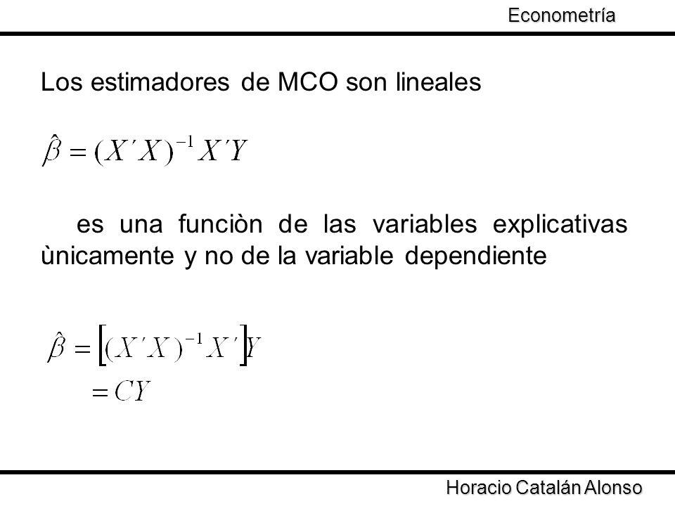 Horacio Catalán Alonso Econometría Teorema Gauss-Markov: En el modelo clásico de regresión lineal el estimador de mínimos cuadrados ordinarios es el estimador lineal insesgado con menor varianza de Para cualquier vector de constantes W, el estimador lineal insesgado con mínima varianza de W´ en el modelo clásico de regresión es, donde es el estimador de mínimos cuadrados ordinarios