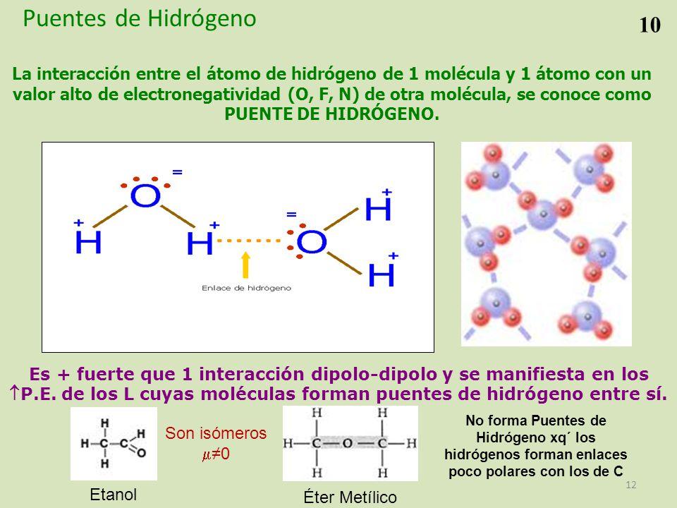 La interacción entre el átomo de hidrógeno de 1 molécula y 1 átomo con un valor alto de electronegatividad (O, F, N) de otra molécula, se conoce como PUENTE DE HIDRÓGENO.