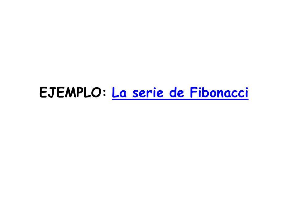 EJEMPLO: La serie de FibonacciLa serie de Fibonacci