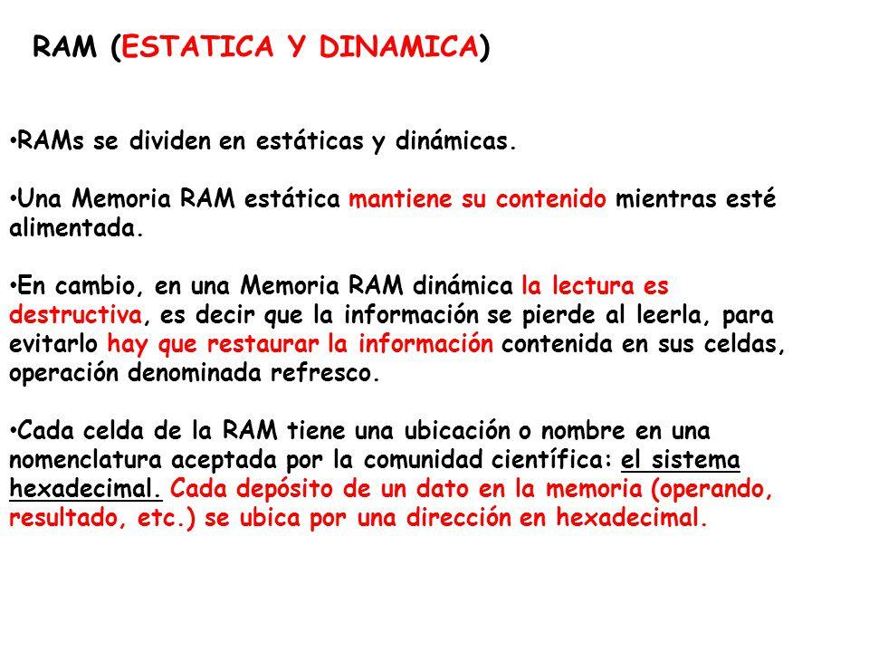 RAM (ESTATICA Y DINAMICA) RAMs se dividen en estáticas y dinámicas. Una Memoria RAM estática mantiene su contenido mientras esté alimentada. En cambio