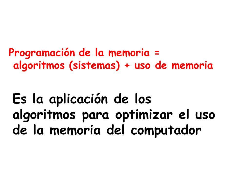 Programación de la memoria = algoritmos (sistemas) + uso de memoria Es la aplicación de los algoritmos para optimizar el uso de la memoria del computa