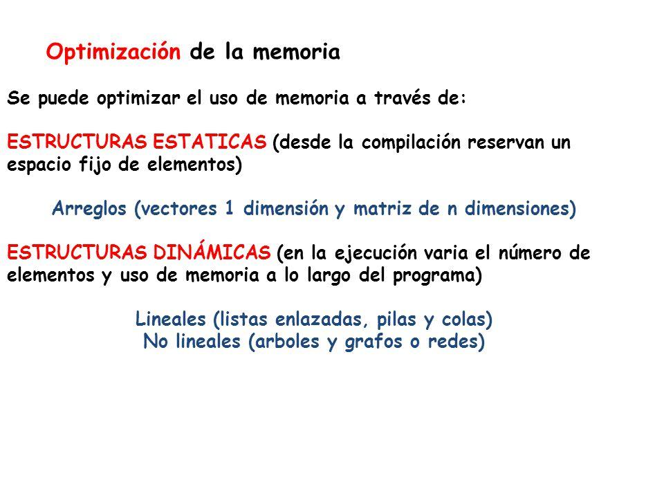 Optimización de la memoria Se puede optimizar el uso de memoria a través de: ESTRUCTURAS ESTATICAS (desde la compilación reservan un espacio fijo de elementos) Arreglos (vectores 1 dimensión y matriz de n dimensiones) ESTRUCTURAS DINÁMICAS (en la ejecución varia el número de elementos y uso de memoria a lo largo del programa) Lineales (listas enlazadas, pilas y colas) No lineales (arboles y grafos o redes)