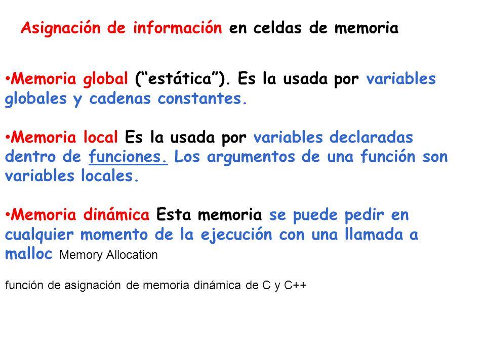 Asignación de información en celdas de memoria Memoria global (estática). Es la usada por variables globales y cadenas constantes. Memoria local Es la