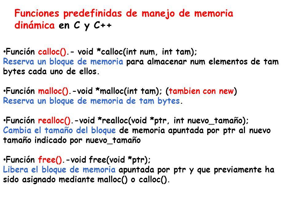 Funciones predefinidas de manejo de memoria dinámica en C y C++ Función calloc().- void *calloc(int num, int tam); Reserva un bloque de memoria para almacenar num elementos de tam bytes cada uno de ellos.