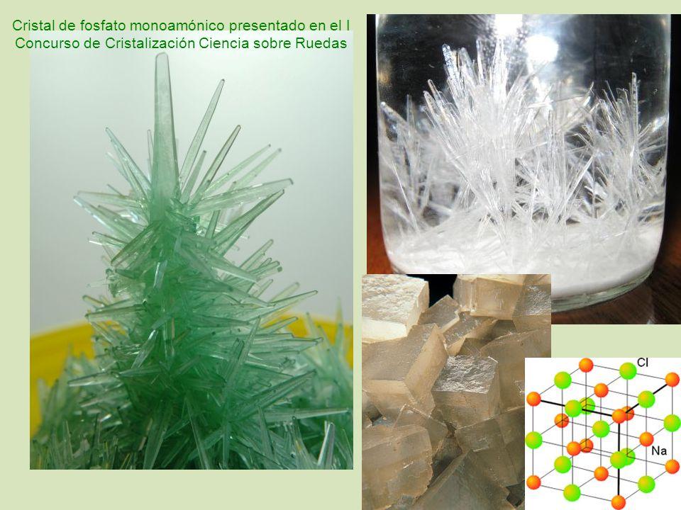 Cristal de fosfato monoamónico presentado en el I Concurso de Cristalización Ciencia sobre Ruedas